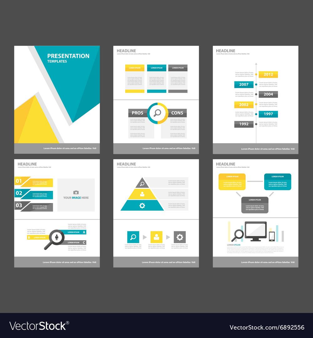 Blue yellow presentation template Infographics set