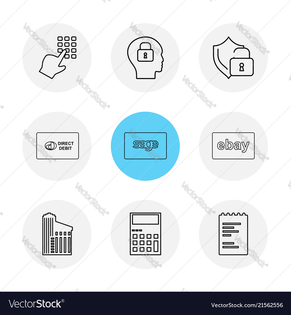 Dial pad lock mind protected direct sage ebay vector image on VectorStock