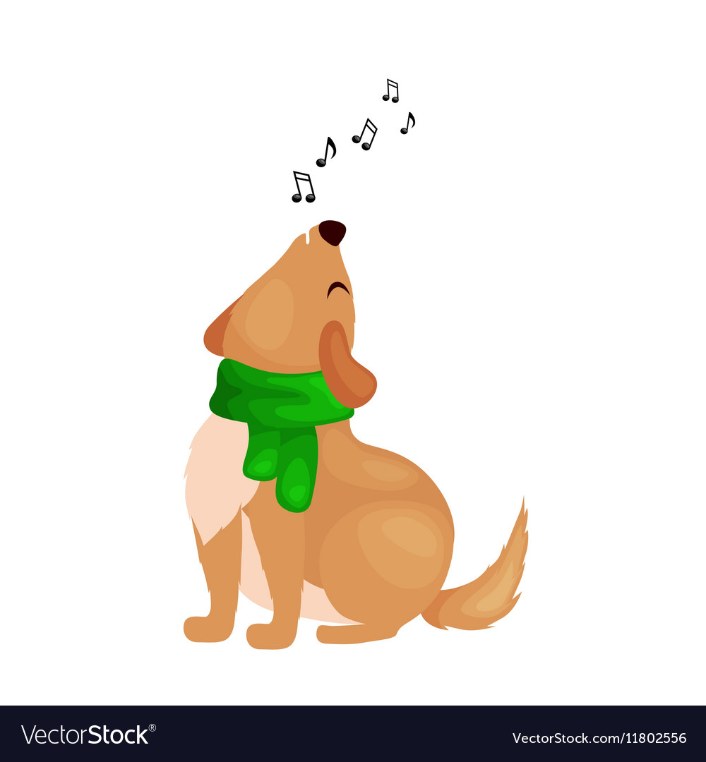 Dog singing christmas songs and jingle bells music vector image