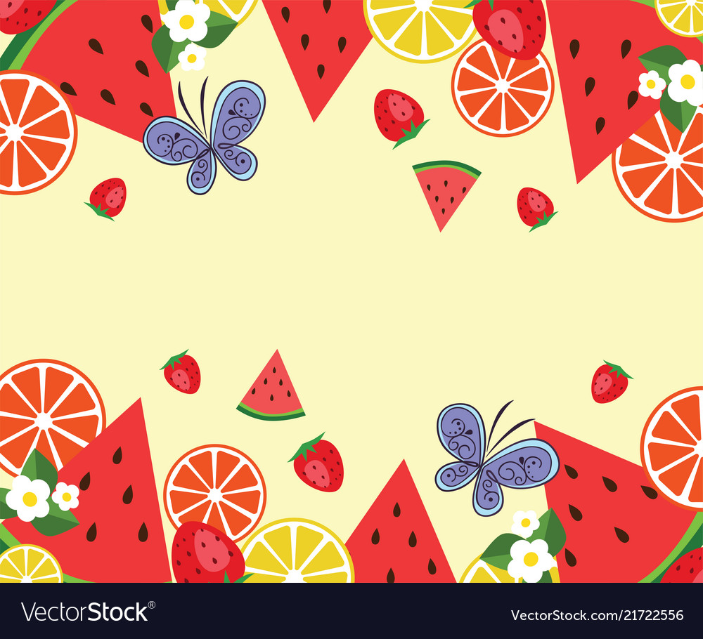Frame template withwatermelons oranges