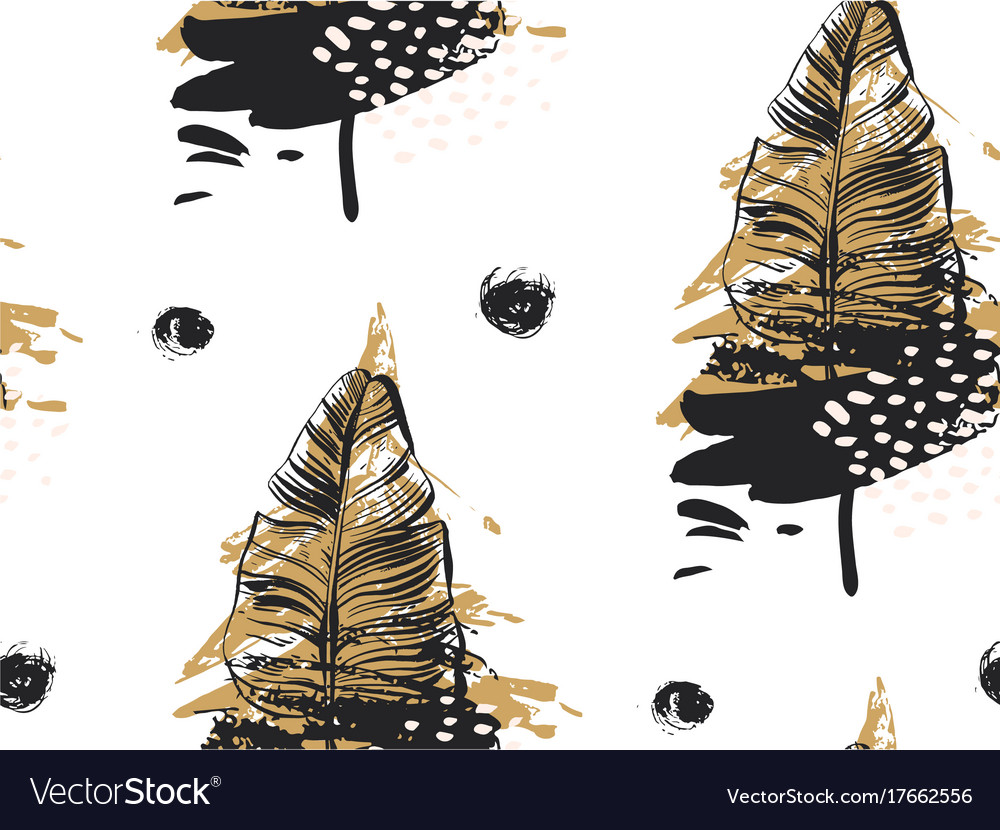 Gold palm leaves pattern black background tropic vector image