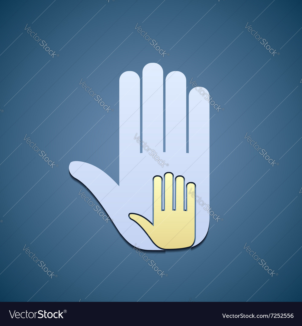 Hands adult and child vector image