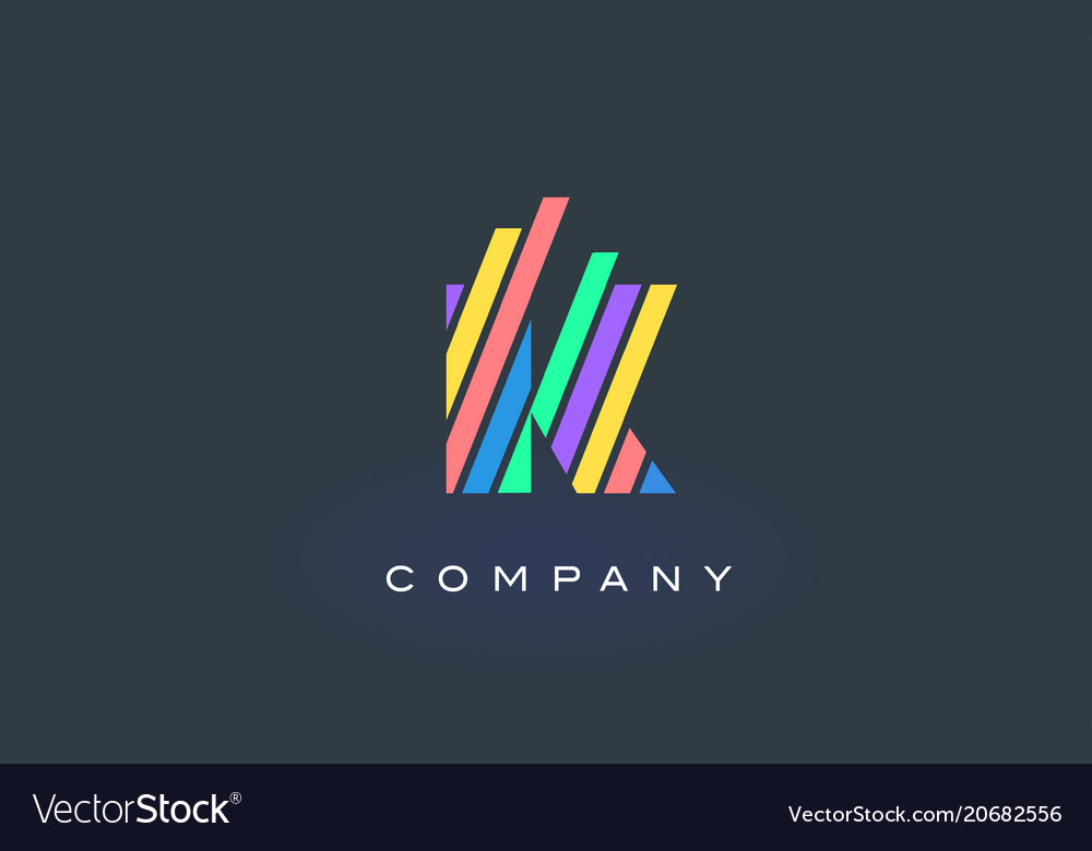 K letter logo with colorful lines design rainbow vector image