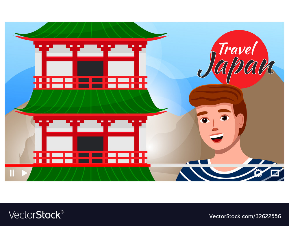 Man travels to japan sightseeing traveling and