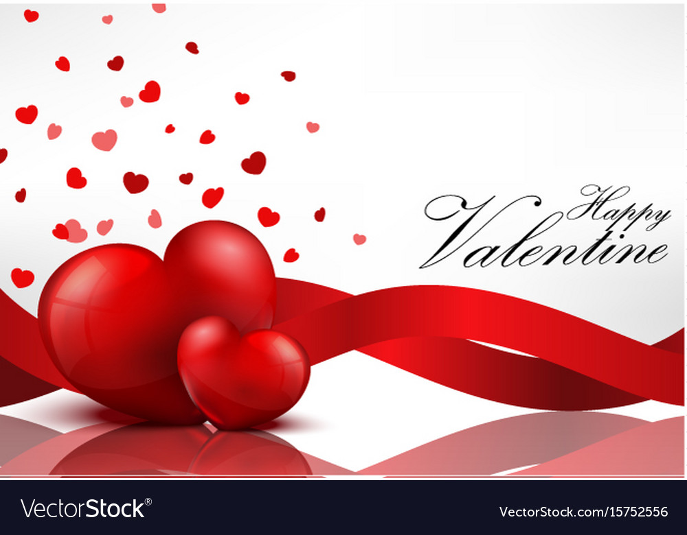 Red heart background with red ribbons