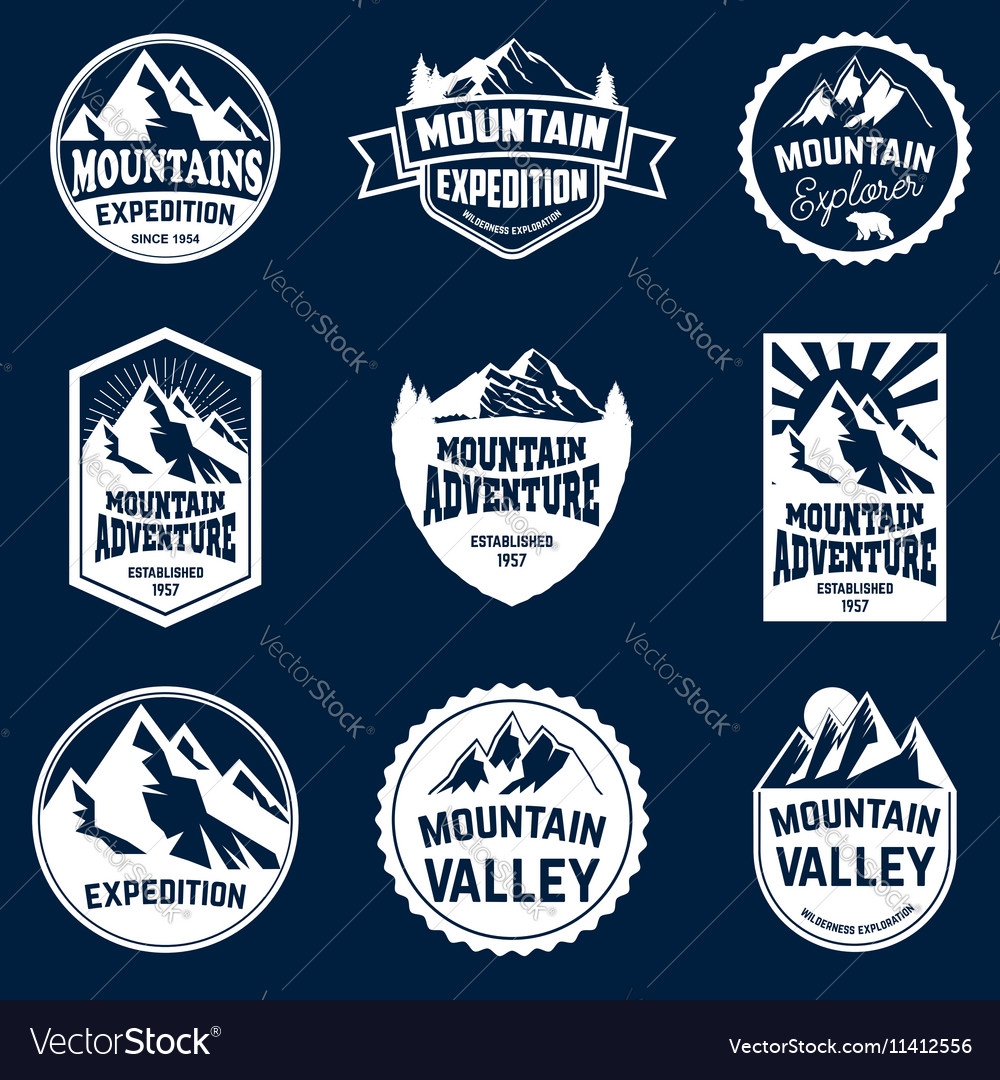 Set of mountains hiking and outdoor adventures