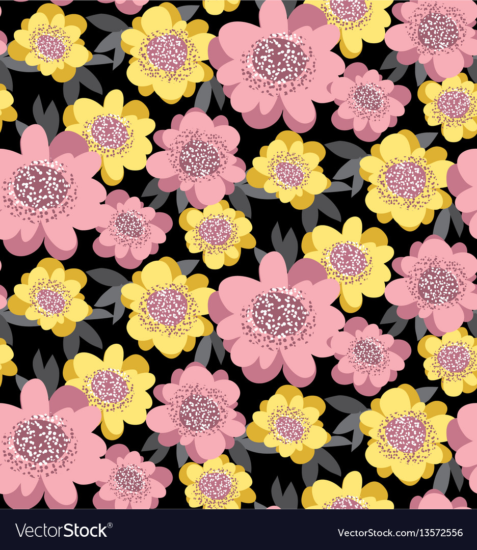 Yellow and rosy stylized floral seamless pattern