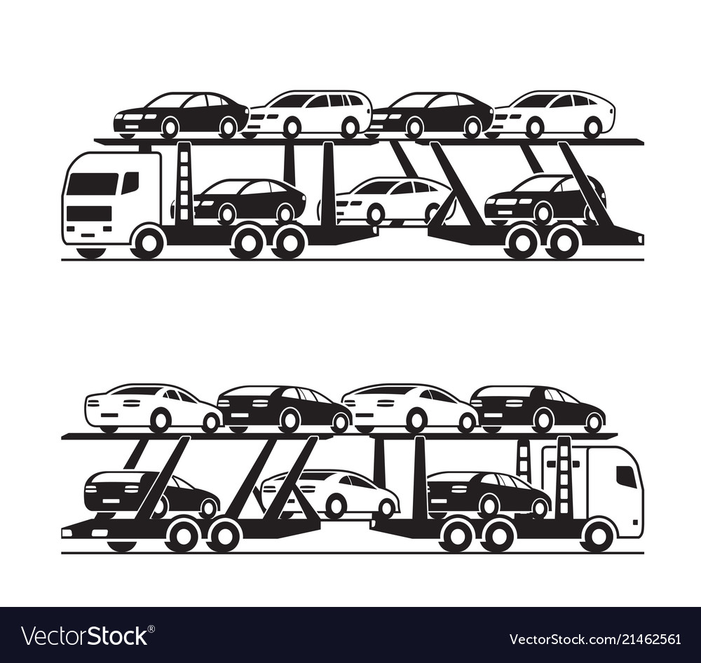Car transporter truck in perspective