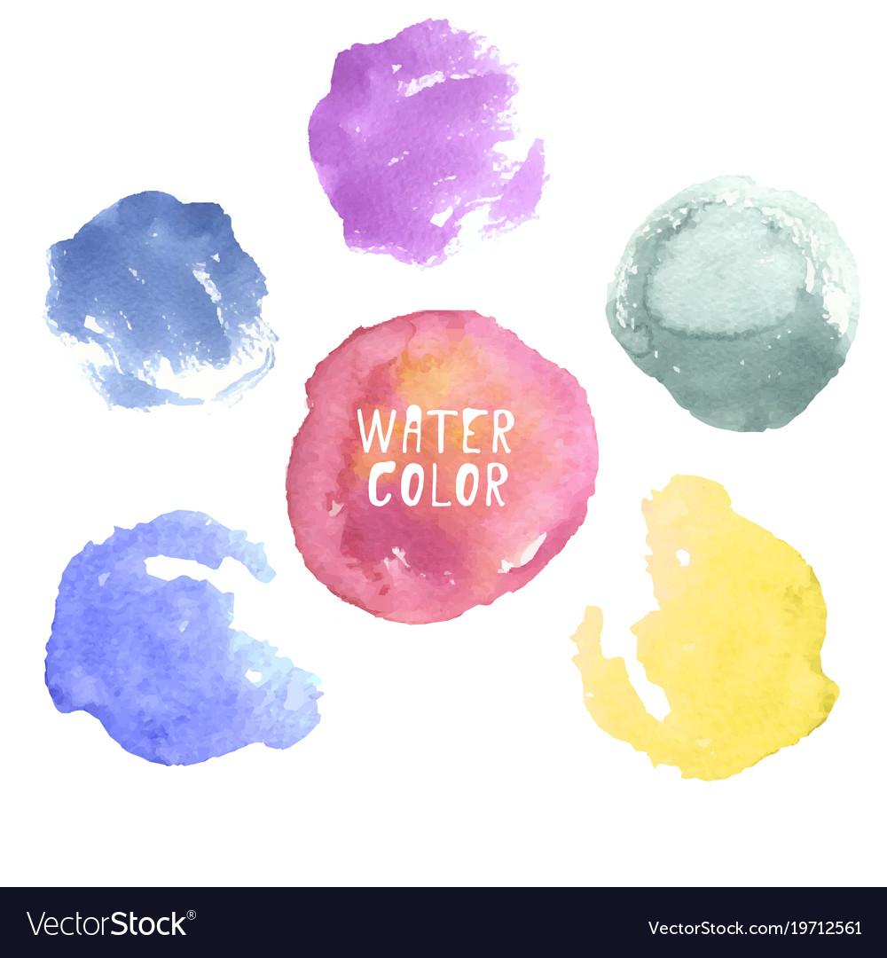 Colorful hand drawn watercolor circles