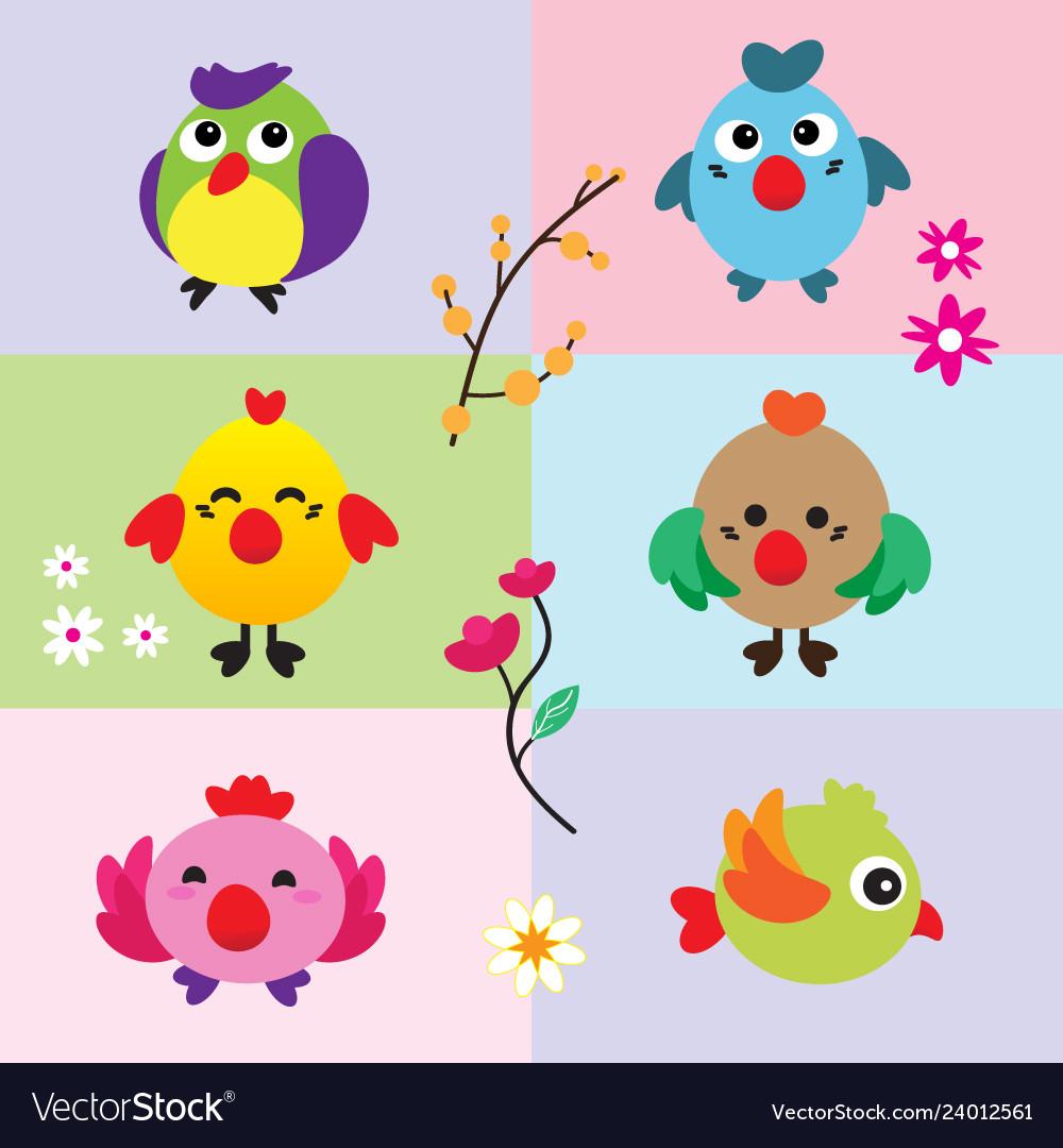 Cute birds with flower