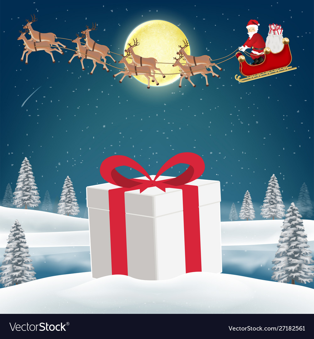 Gift box on snow with santa claus and reindeer