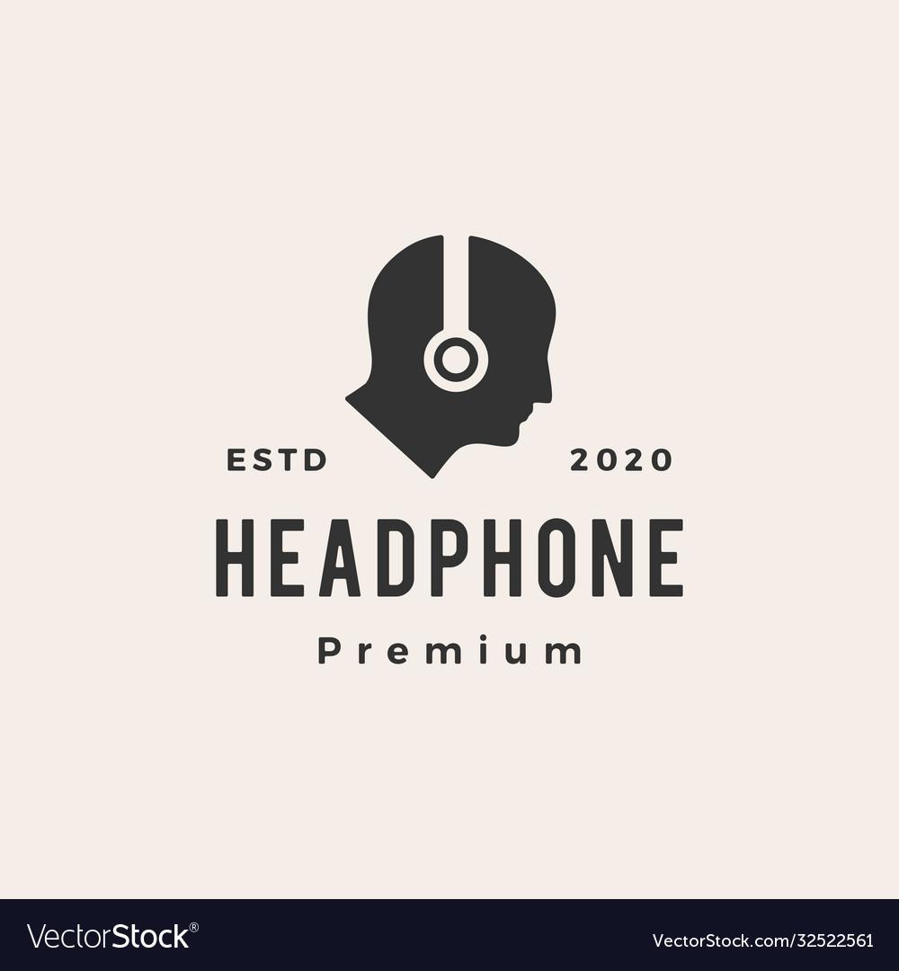 Human headphone hipster vintage logo icon