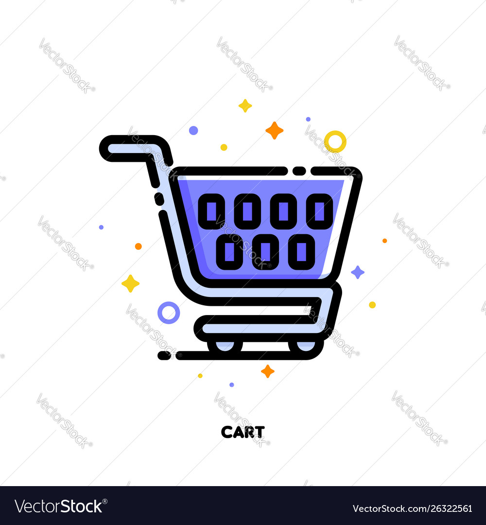 Icon shopping cart for retail and consumerism