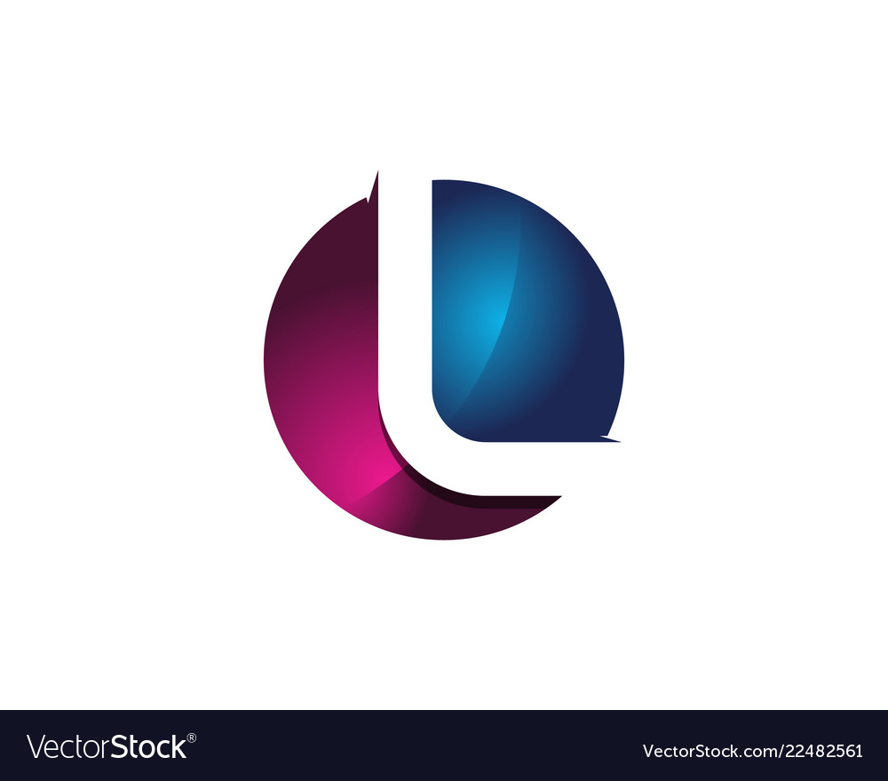l 3d colorful circle letter logo icon design vector image vectorstock