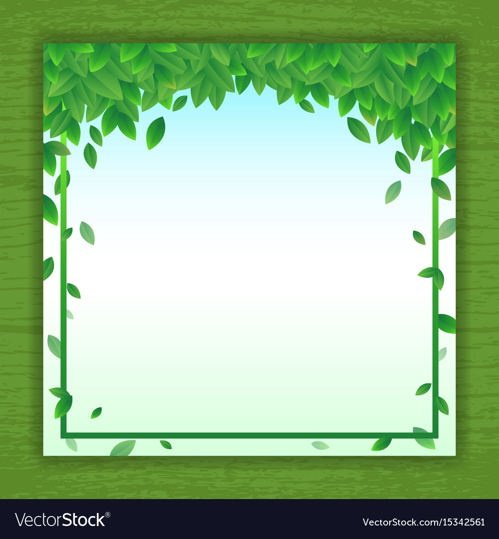 Nature background banner with green leaf frame