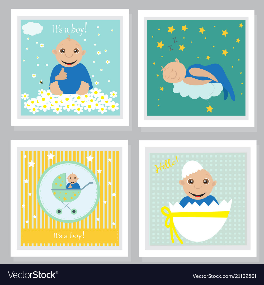 Set of baby shower invitation greeting cards vector image m4hsunfo