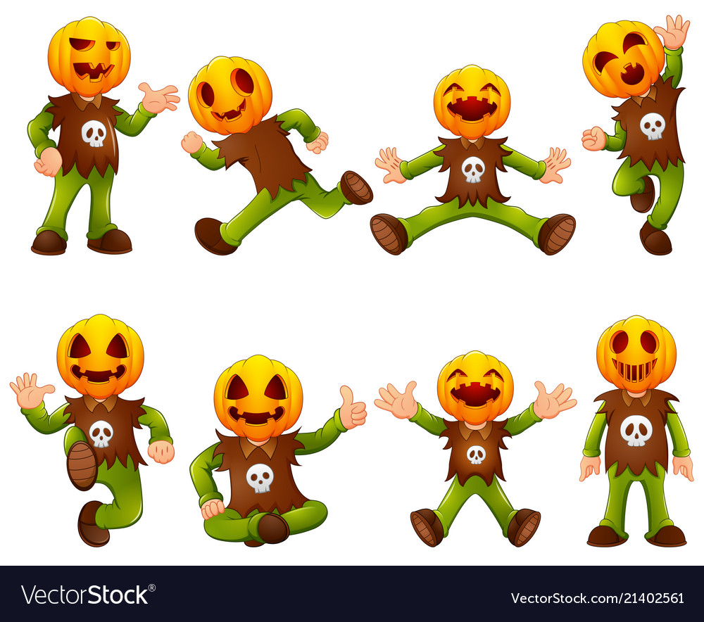 Set of kid wearing pumpkin mask