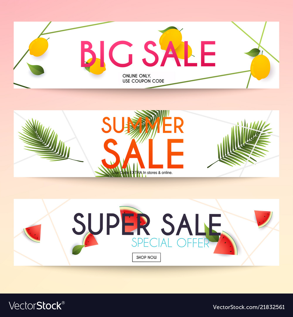 Set of sale banners design discounts and special