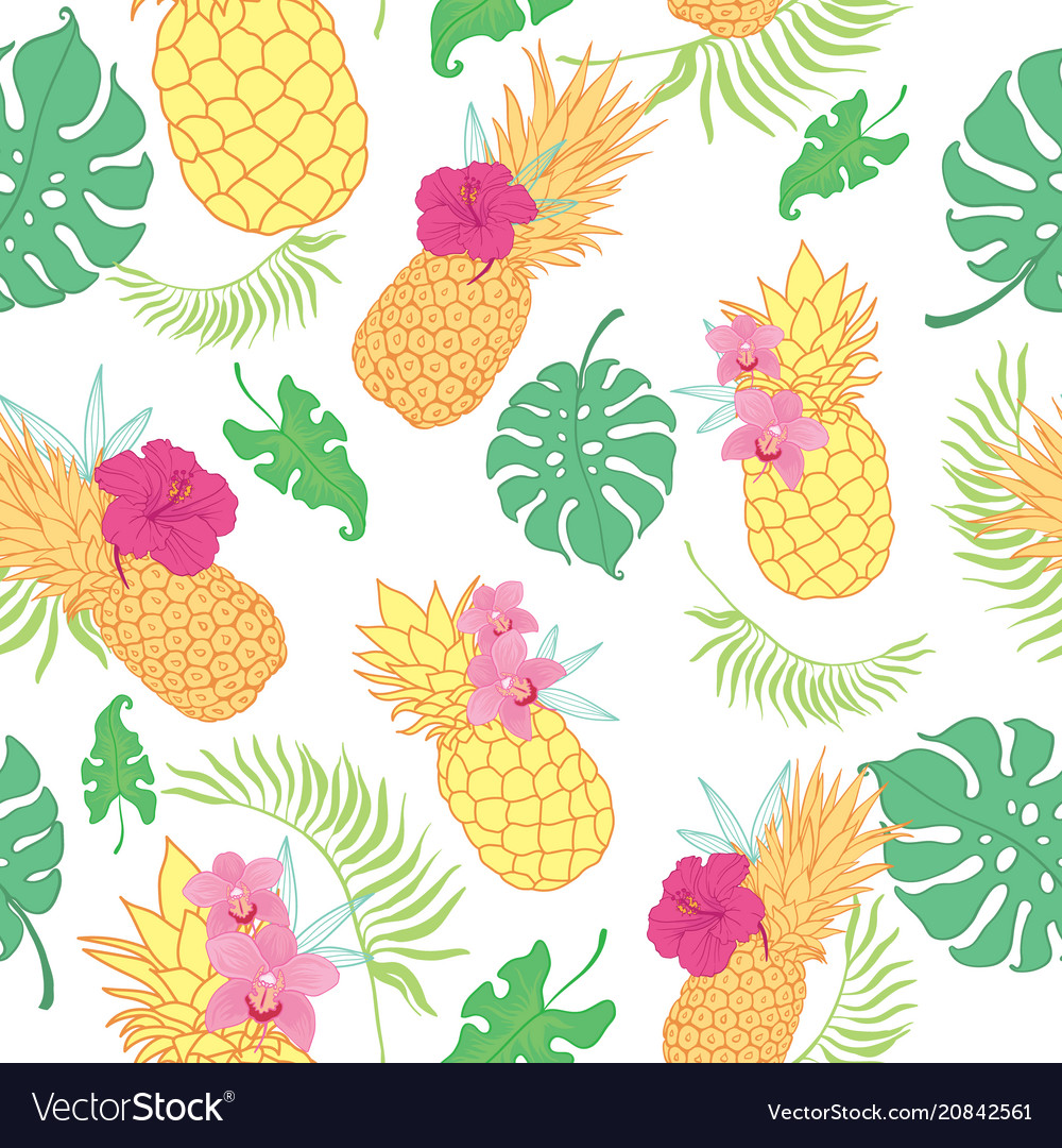 Tropical pineapples seamless repeat pattern