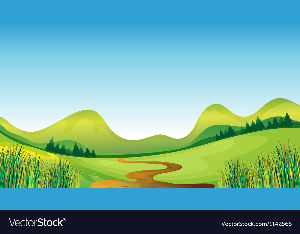 A winding road and mountains vector image