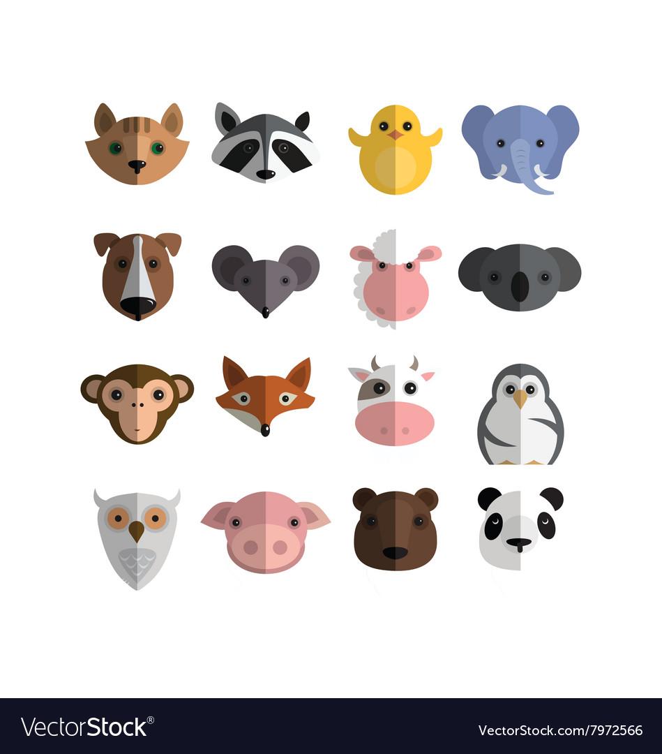 Animal cute bundle logo vector image