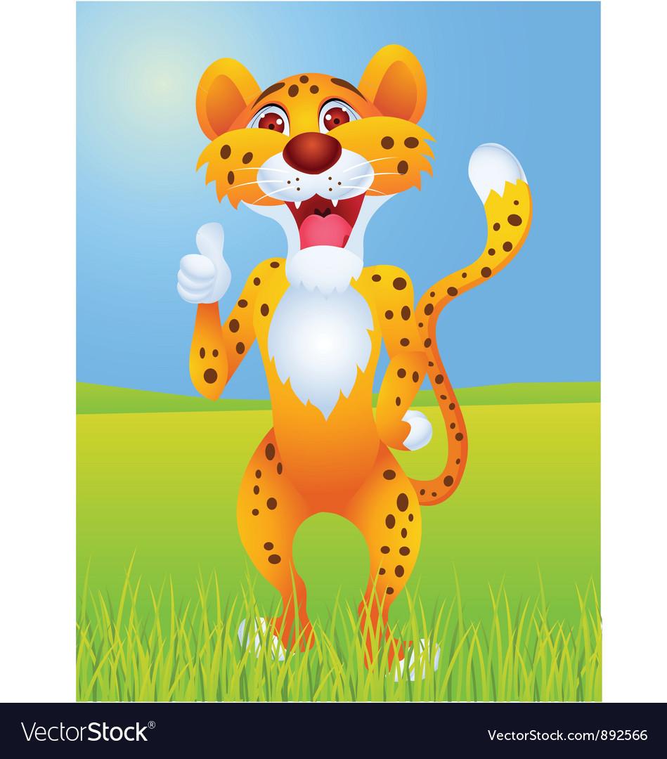 Cheetah cartoon with thumb up vector image