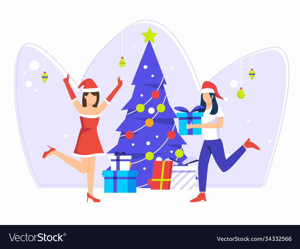 Christmas holiday celebration women give gifts to