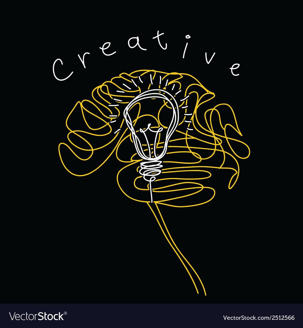 Creative brain and bulb icon concept of idea vector image