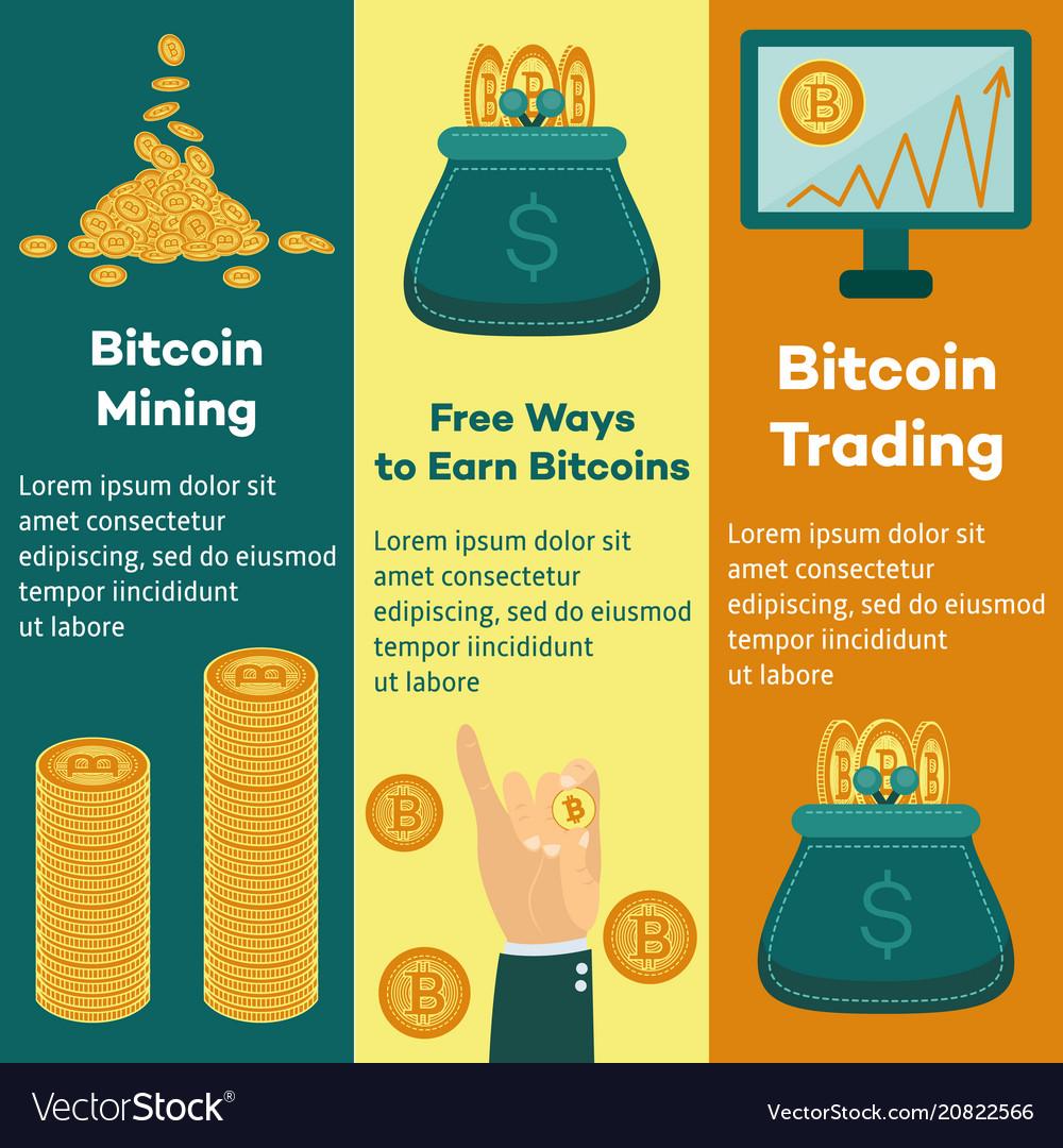 Flat bitcoin mining trading posters set vector image