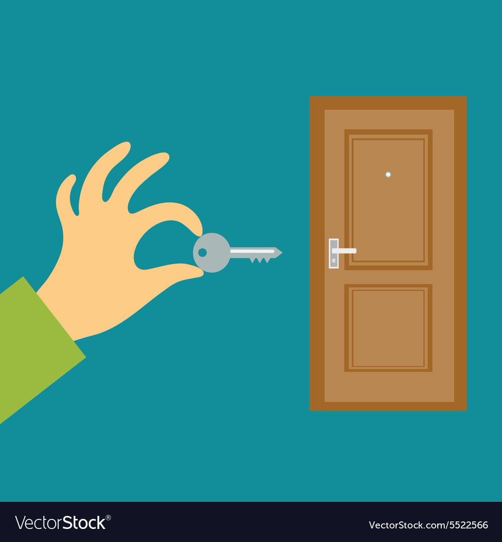 Hand with a key opens or closes the door Flat