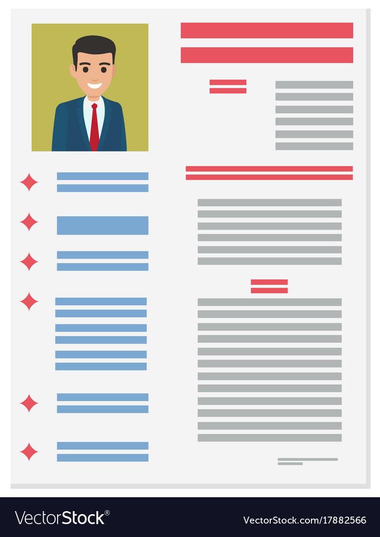 Job Application Form Of Businessman Brief Resume Vector Image