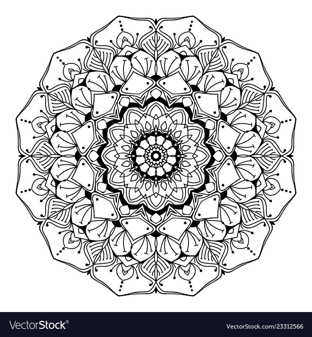 Mandala line art adult coloring page