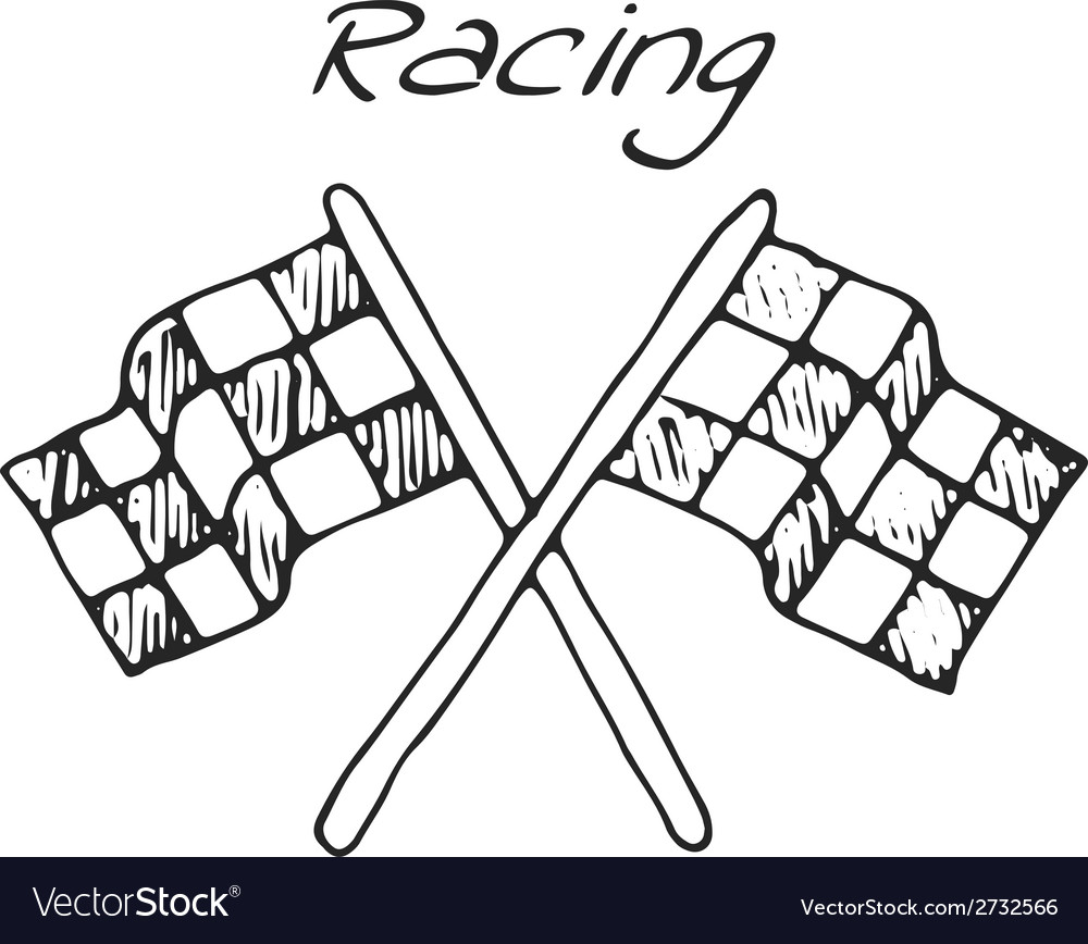 Racing flag in a drawing style