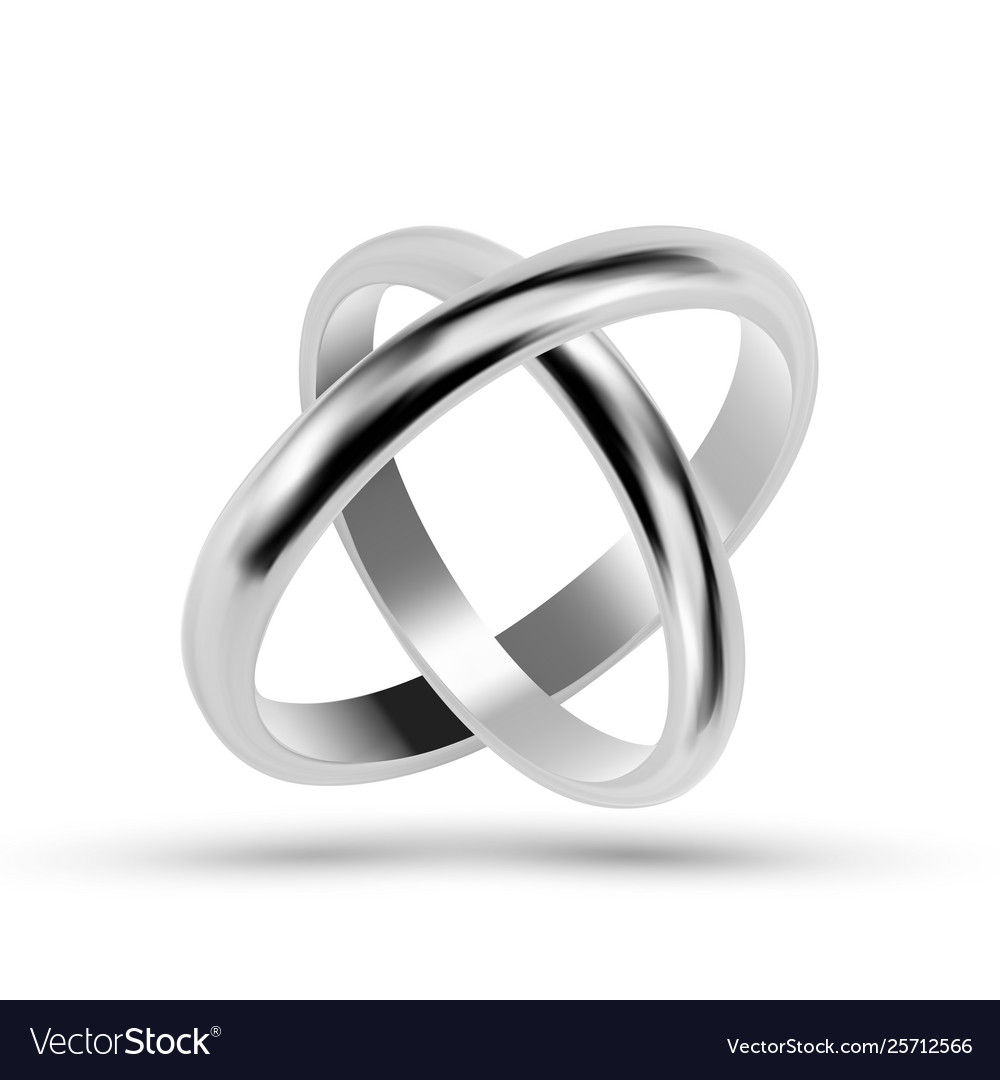 Silver or platinum jewelry wedding rings