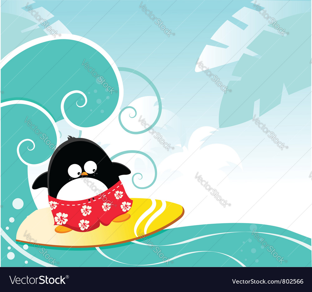 Surfing penguin vector image