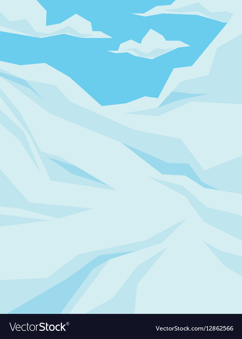 Winter scene with downhill slope blue sky and