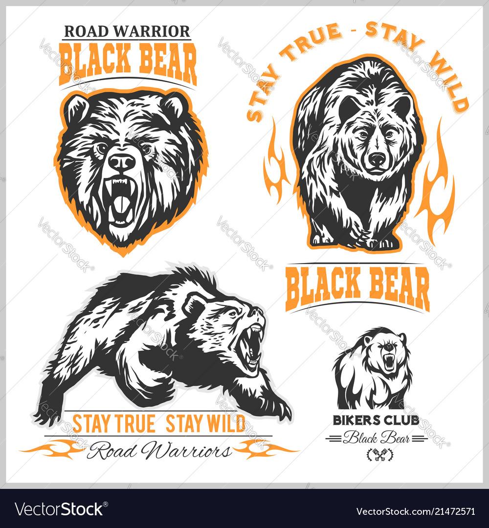 Black bear for logo sport team emblem design