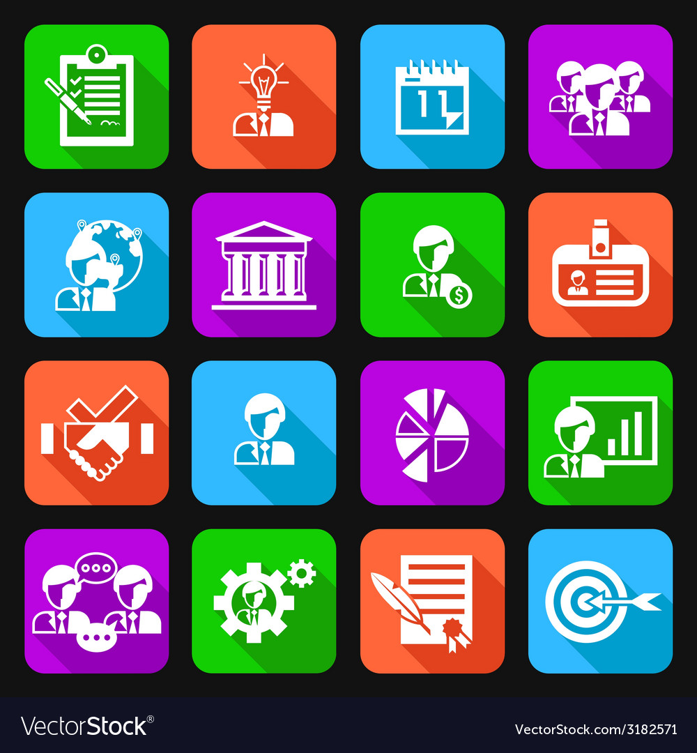 Business management icons flat vector image