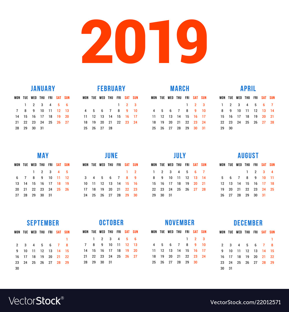Calendar for 2019 year on white background week