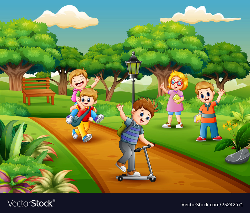 Cartoon group of children playing in the park Vector Image