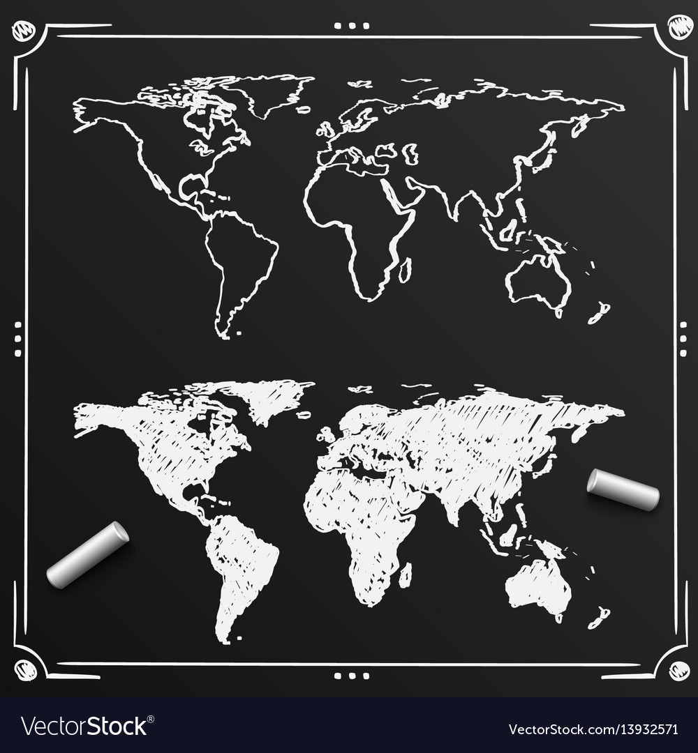 Chalkboard sketch of hand drawn world map vector image
