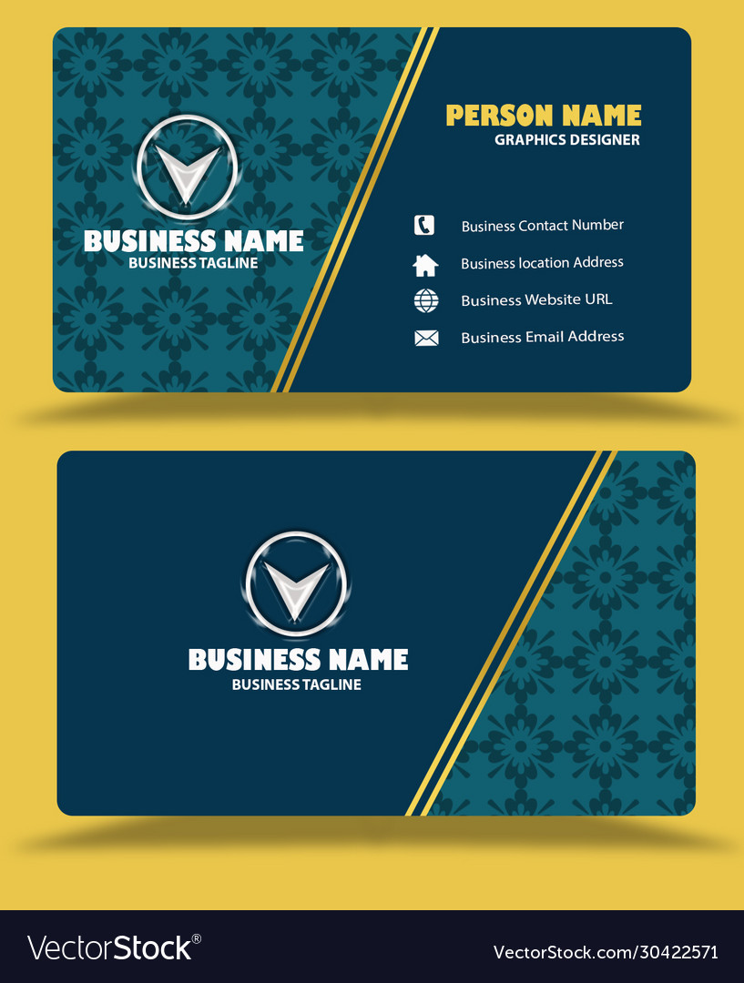 Dark green business card template psd Royalty Free Vector With Regard To Template Name Card Psd