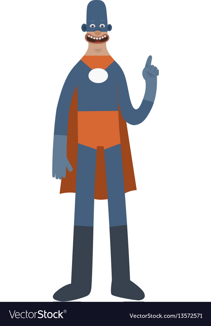 Funny superhero cartoon man character