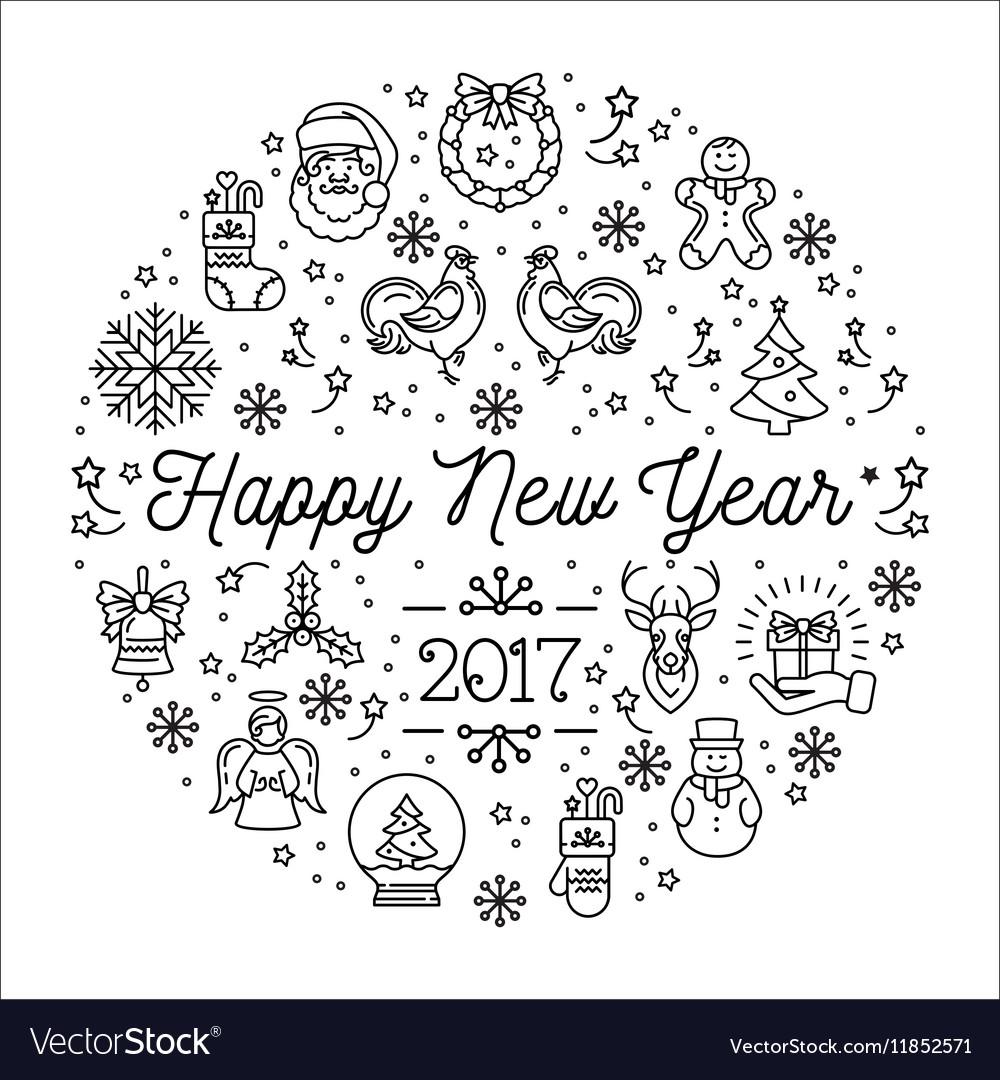 Happy New Year 2017 template Elegant