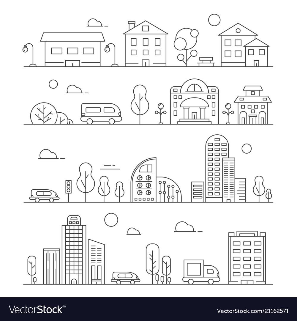 Line urban landscapes set of various city