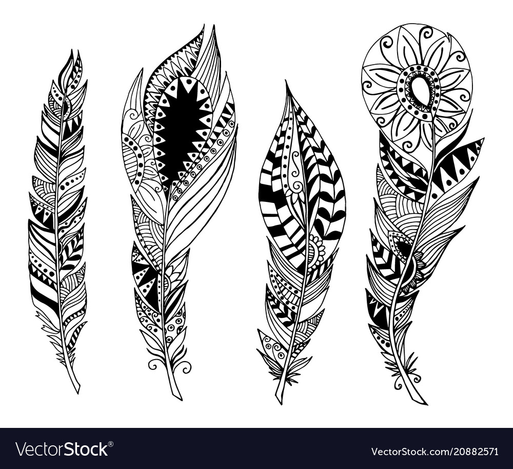 Mandala style feathers set collection creative