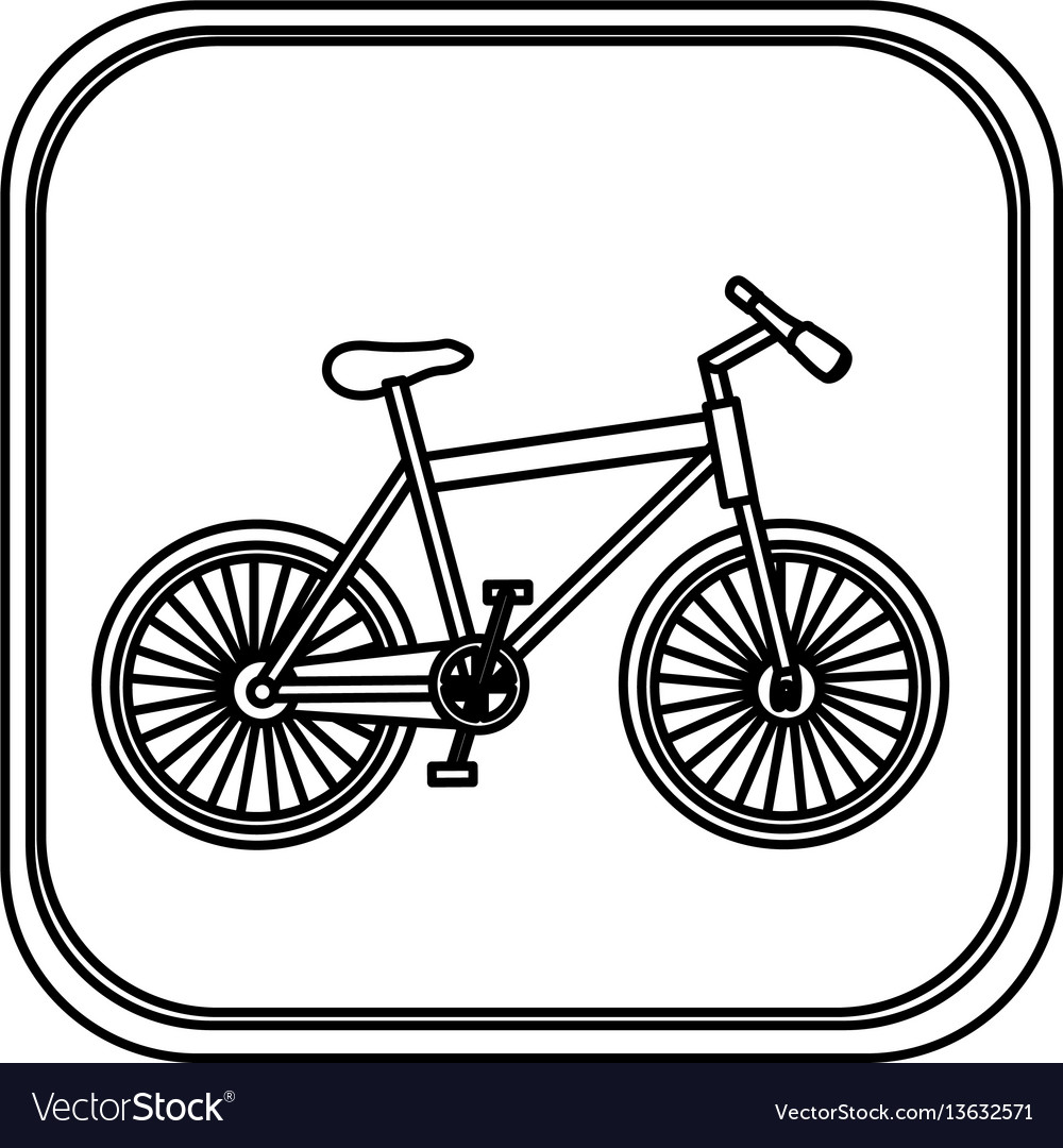 Monochrome rounded square with bicycle