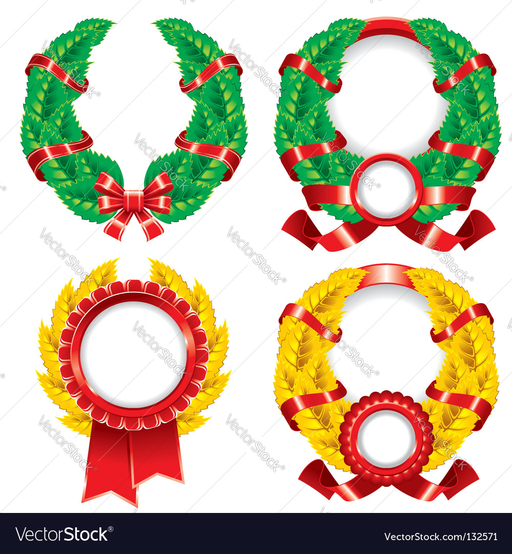 Set of wreaths and emblems
