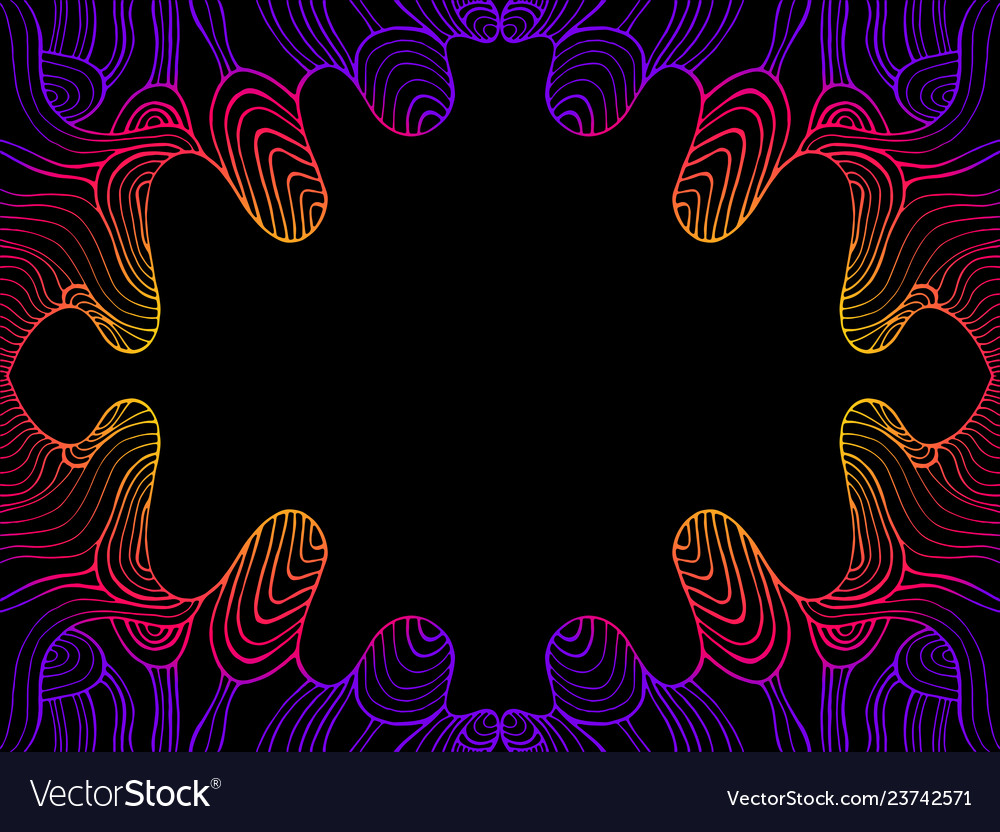 Vintage psychedelic abstract waves frame gradient