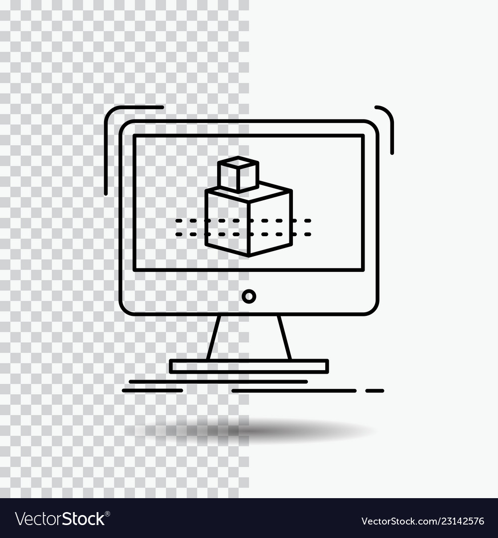 3d cube dimensional modelling sketch line icon on